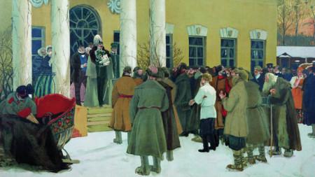 """""""Освобождаване на селяните (прочитането на манифеста)"""", картина от Борис Кустодиев, 1907 г."""