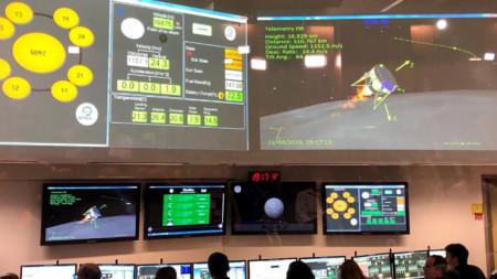 """Израелският Център за управление полета в Яхуд преди неуспешното кацане на апарата """"Берешит"""", с който връзката е била изгубена на 149 м височина над лунната повърхност."""