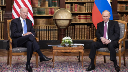 Джо Байдън и Владимир Путин в Женева, 17 юни 2021 г.