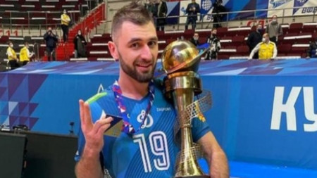 Цветан Соколов с купата на Русия по волейбол