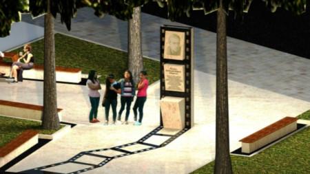 Проектът на паметника във Враца, посветен на кинорежисьора Людмил Кирков.