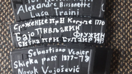 Надписи върху пълнители на нападателя, представил се като Брентън Тарант.