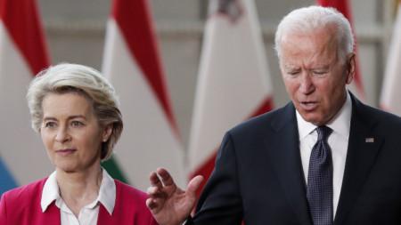 Председателката на ЕК Урсула фон дер Лайен с американския президент Джо Байдън.
