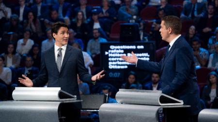 Джъстин Трюдо и Андрю Шиър на предизборен дебат.