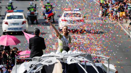 Парад в Манила по случай завръщането на Мис Вселена 2018 Катриона Грей