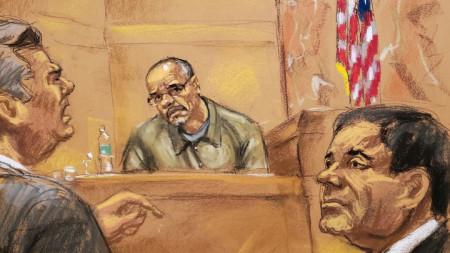 Адвокат на защитата, свидетелят Цифуентес и подсъдимият наркобос Хоакин Гусман - Ел Чапо на скица от федерален съд в Бруклин.