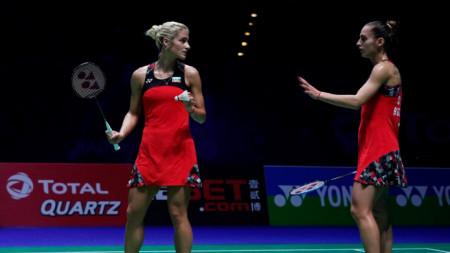 Габриела (вляво) и Стефани Стоеви победиха за трети пореден път японките.