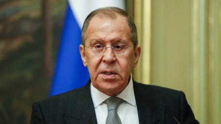 Руският външен министър Сергей Лавров на пресконференция в Москва.