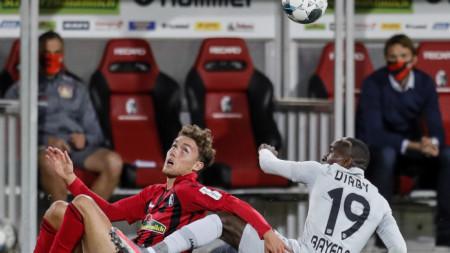 Байер (Леверкузен) победи с 1:0 като гост Фрайбург