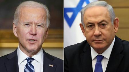 Джо Байдън (вляво) и Бенямин Нетаняху