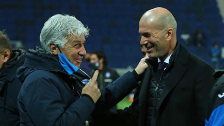 Треньорът на Аталанта Гасперини (вляво) предупреждава Зидан да внимава на реванша.