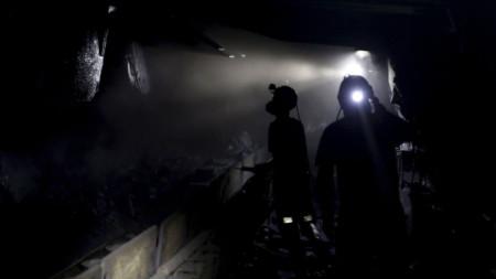 Добив на въглища в мина в Полша.