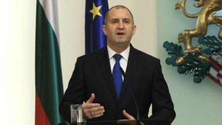 Президентът Румен Радев на пресконференцията по повод третата годишнина от встъпването си в длъжност.