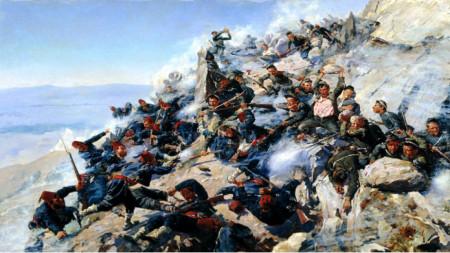 Die Verteidigung des Adlernestes auf dem Schipka-Gipfel (gemalt von A. Popow)