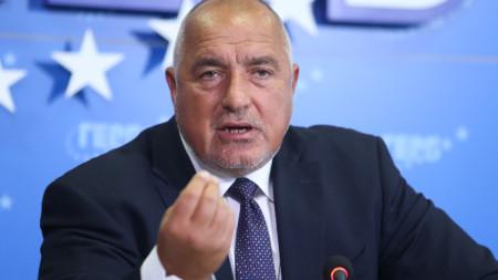 Лидерът на ГЕРБ на пресконференция в централата на партията в София.