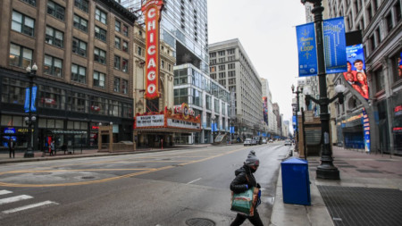 Пуста улица в Чикаго заради мерките срещу коронавируса.
