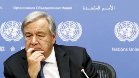 Антониу Гутериш на пресконференцията за откриващата се сесия на Общото събрание на ООН в Ню Йорк.