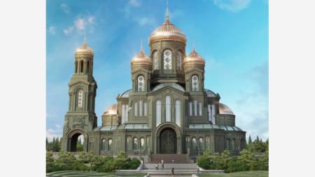 """Новопостроеният главен храм на руските въоръжени сили """"Възкресение Христово"""", който бе открит от президента Владимир Путин"""