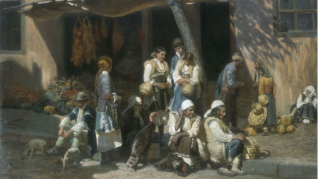 Anton Mitov (1862-1930), Village Women at the Market in Sofia