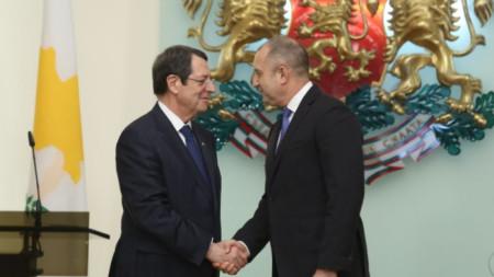 Президентът Румен Радев с кипърския си колега Никос Анастасиадис