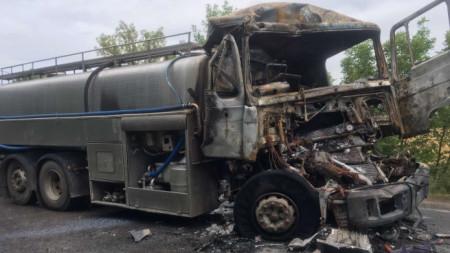 Един от камионите, участвали в катастрофата.