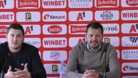 Милош Крушчич говори пред медиите.