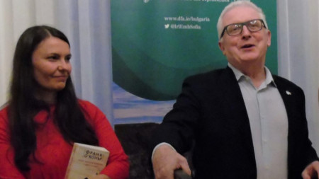 Publisher Gergana Dimitrova and H.E. Michael Forbes at the presentation of the book