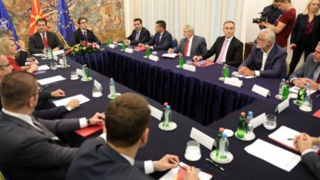 Лидерската среща при президента Стево Пендаровски в Скопие.