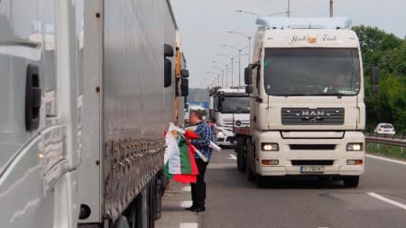 Протест на български превозвачи срещу пакета