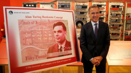 Шефът на АЦБ Марк Карни представя нова банкнота от 50 лири с лика на Алън Тюринг в Музея на науката и индустрията в Манчестър