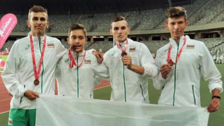 Щафетата на България на 4 по 400 м спечели бронзови медали.