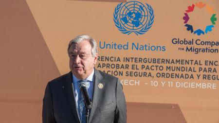 Генералният секретар на ООН Антониу Гутериш по време на Конференцията в Маракеш