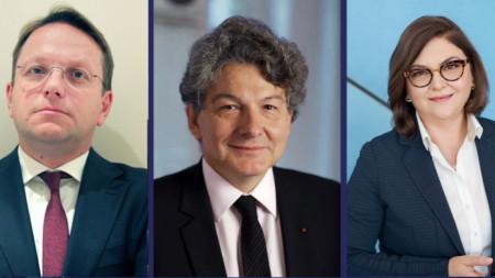 Оливер Вархей - Унгария, Тиери Бретон - Франция и Адина-Йоана Вълян - Румъния (от ляво на дясно).