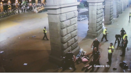 Freeze-frame of the footage of police brutality at last year's protests