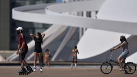 Пред Националния музей на републиката в столицата Бразилия, 26 юли 2020 г.