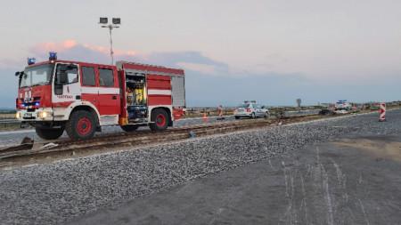 Мястото на пътния инцидент, станал в неделя следобед на автомагистрала