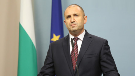 President Radev making statement in front of media