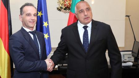Премиерът Бойко Борисов и германският външен министър Хайко Маас.
