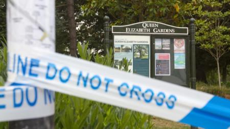 """Затвореният парк """"Куин Елизабет гардънс"""" в Солсбър през юли след предположението, че там двама британски граждани били изложени на """"Новичок"""" от намерено в кофа за боклук шишенце от парфюм."""