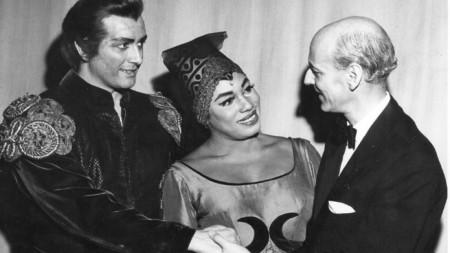 Франко Корели, Леонтин Прайс и Рудолф Бинг, 1961 г.