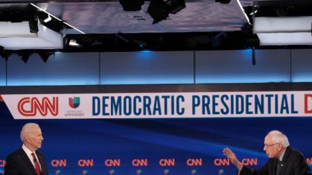 Първият дебат между бившия вицепрезидент Джо Байдън и сенаторът Бърни Сандърс за изборите за президент през есента в САЩ.