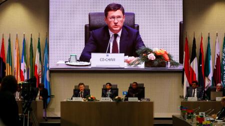 Руският енергиен министър, петролният министър на ОАЕ и председателят на ОПЕК на срещата ОПЕК +