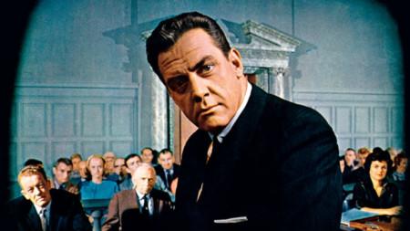 Актьорът Реймънд Бър в ролята на Пери Мейсън от сериала на телевизия CBS, 1961 г.