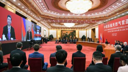 """Tелемост между Владимир Путин и Си Цзинпин за откриване на газопровода """"Силата на Сибир"""""""