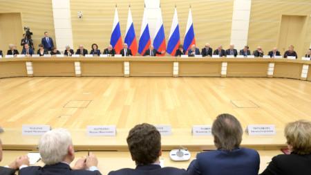 Заседание на Владимир Путин с работната група за промени в конституцията на Русия.