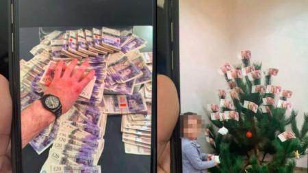 """В. """"Сън"""" се е сдобил със снимки от мобилни телефони на членове на една от бандите. На една се вижда камара от банкноти от 20 лири, а на друга - коледно дърво украсено с банкноти от 50 лири."""