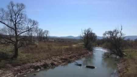 Река Камчия след вливането на река Врана в нея.