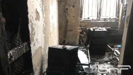 """Помещението, от което е тръгнал пожарът в болница """"Пирогов"""""""