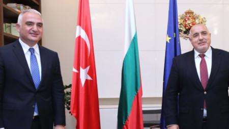 Турският министър на културата и туризма Мехмет Ерсой и премиерът Бойко Борисов