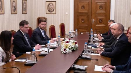 Встреча посла США Херро Мустафа и Пола Ахерна с президентом Радевым